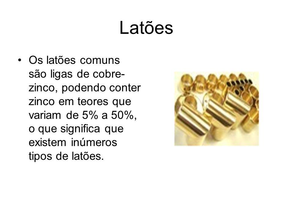 Latões Os latões comuns são ligas de cobre- zinco, podendo conter zinco em teores que variam de 5% a 50%, o que significa que existem inúmeros tipos d