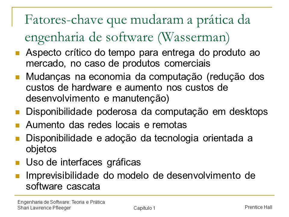 Prentice Hall Engenharia de Software: Teoria e Prática Shari Lawrence Pfleeger Capítulo 1 Fatores-chave que mudaram a prática da engenharia de softwar