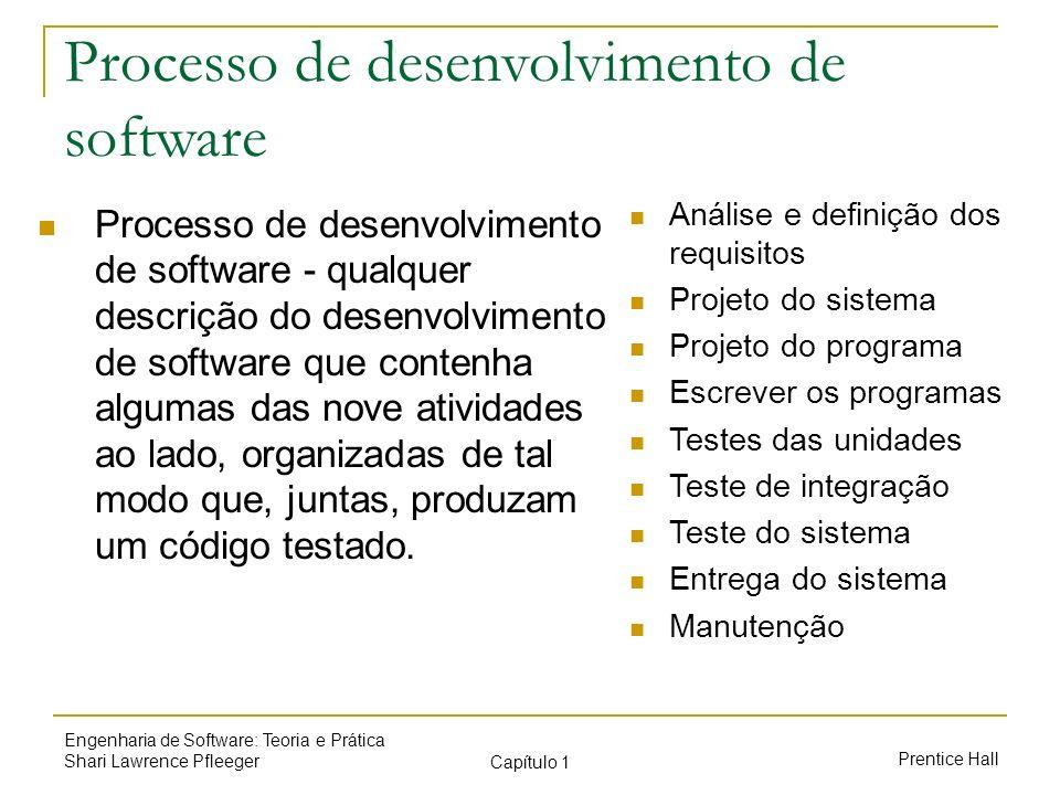 Prentice Hall Engenharia de Software: Teoria e Prática Shari Lawrence Pfleeger Capítulo 1 Processo de desenvolvimento de software Processo de desenvol