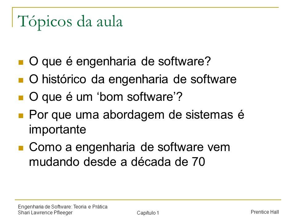 Prentice Hall Engenharia de Software: Teoria e Prática Shari Lawrence Pfleeger Capítulo 1 Tópicos da aula O que é engenharia de software? O histórico