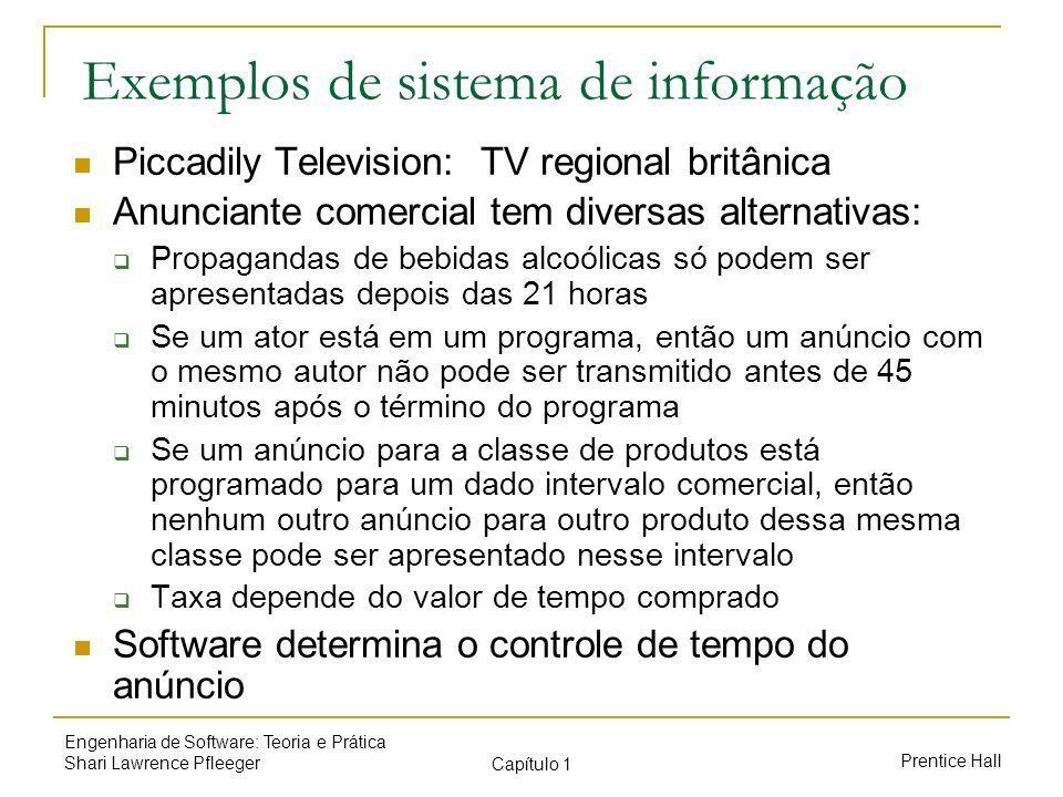 Prentice Hall Engenharia de Software: Teoria e Prática Shari Lawrence Pfleeger Capítulo 1 Exemplos de sistema de informação Piccadily Television: TV r