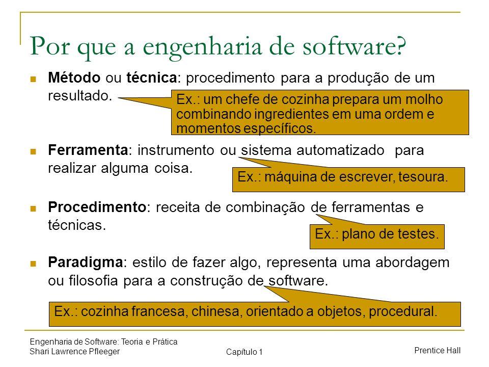 Prentice Hall Engenharia de Software: Teoria e Prática Shari Lawrence Pfleeger Capítulo 1 Por que a engenharia de software? Método ou técnica: procedi