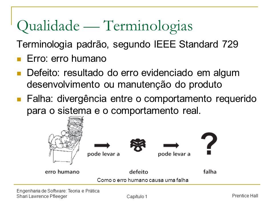 Prentice Hall Engenharia de Software: Teoria e Prática Shari Lawrence Pfleeger Capítulo 1 Qualidade Terminologias Terminologia padrão, segundo IEEE St
