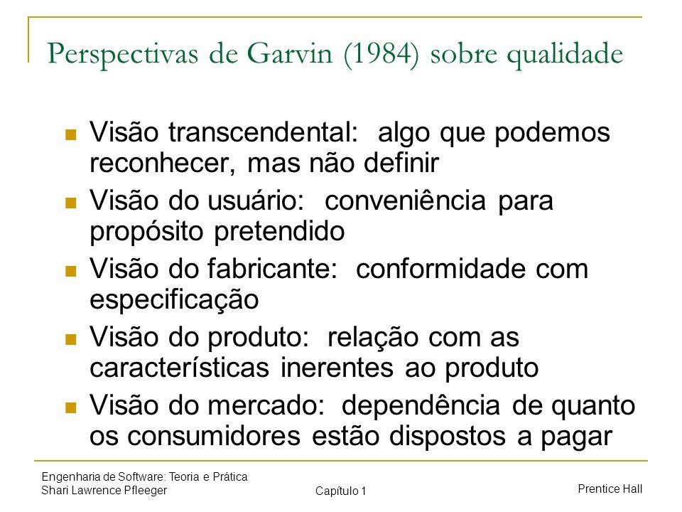 Prentice Hall Engenharia de Software: Teoria e Prática Shari Lawrence Pfleeger Capítulo 1 Perspectivas de Garvin (1984) sobre qualidade Visão transcen