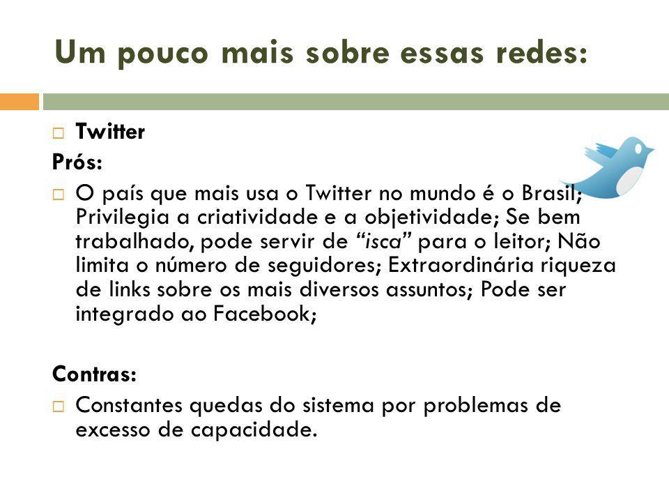 Um pouco mais sobre essas redes: Twitter Prós: O país que mais usa o Twitter no mundo é o Brasil; Privilegia a criatividade e a objetividade; Se bem t