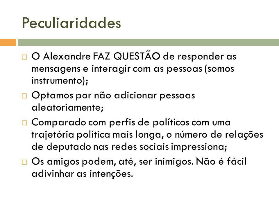 Peculiaridades O Alexandre FAZ QUESTÃO de responder as mensagens e interagir com as pessoas (somos instrumento); Optamos por não adicionar pessoas ale