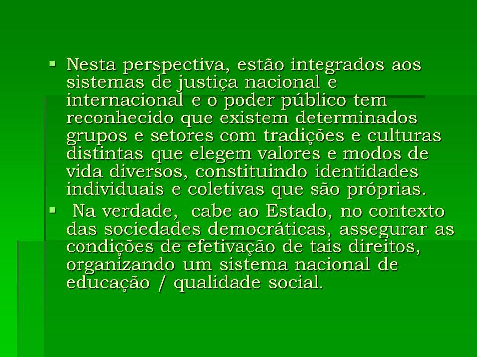 Nesta perspectiva, estão integrados aos sistemas de justiça nacional e internacional e o poder público tem reconhecido que existem determinados grupos
