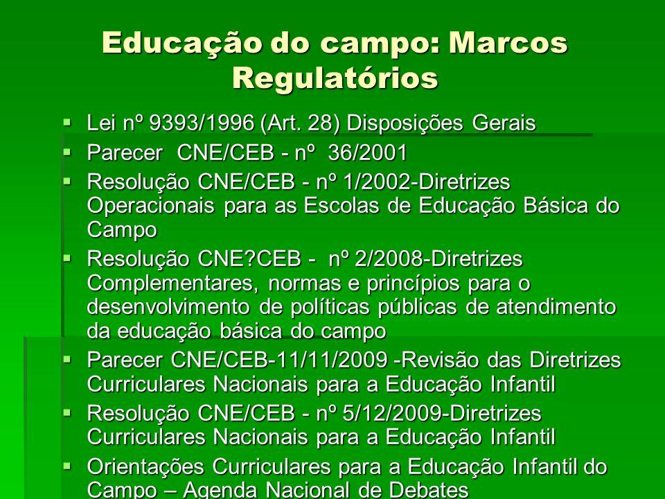 Educação do campo: Marcos Regulatórios Lei nº 9393/1996 (Art. 28) Disposições Gerais Lei nº 9393/1996 (Art. 28) Disposições Gerais Parecer CNE/CEB - n