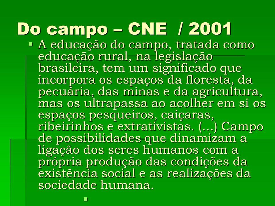 Do campo – CNE / 2001 A educação do campo, tratada como educação rural, na legislação brasileira, tem um significado que incorpora os espaços da flore