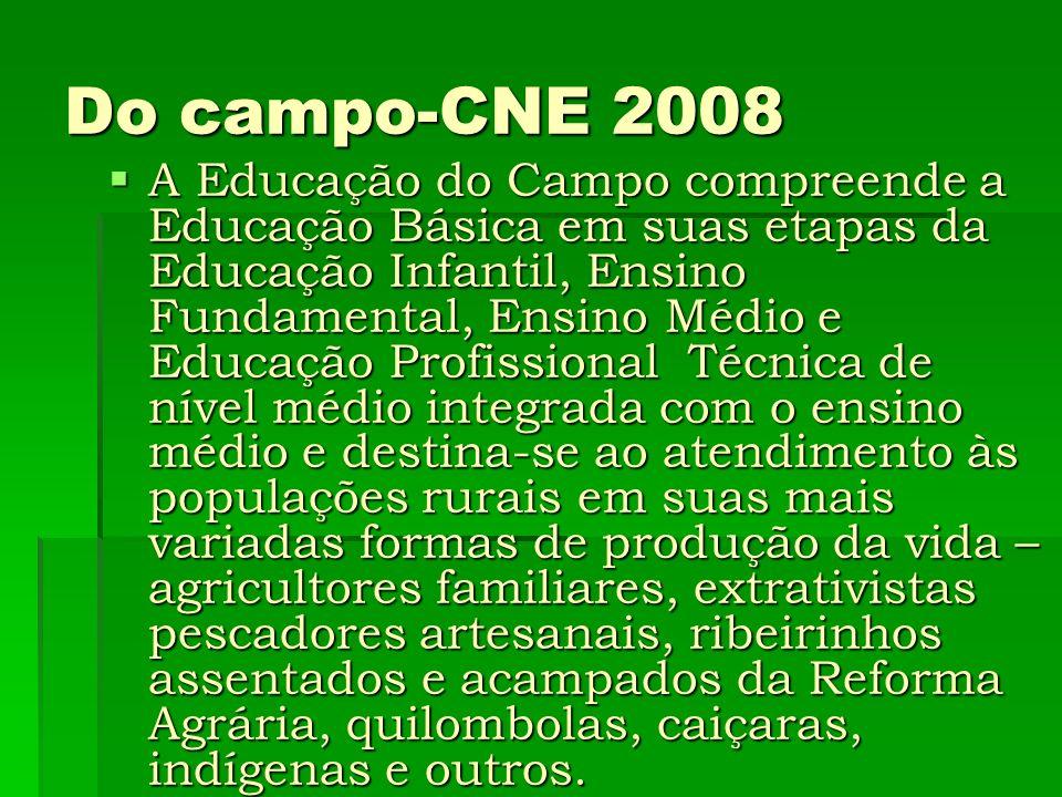 Do campo-CNE 2008 A Educação do Campo compreende a Educação Básica em suas etapas da Educação Infantil, Ensino Fundamental, Ensino Médio e Educação Pr