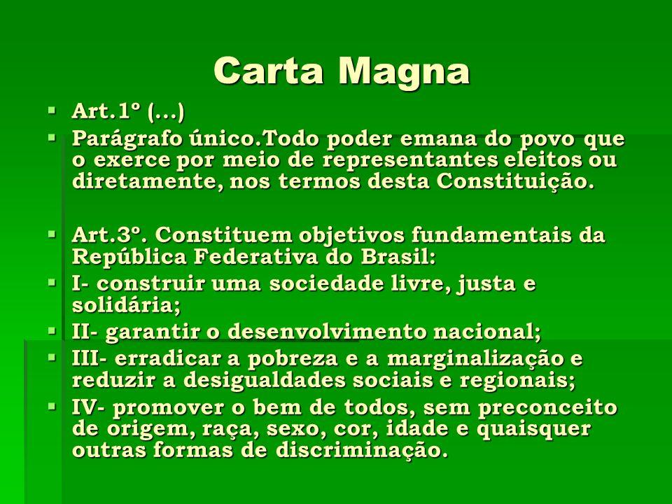 Carta Magna Art.1º (...) Art.1º (...) Parágrafo único.Todo poder emana do povo que o exerce por meio de representantes eleitos ou diretamente, nos ter
