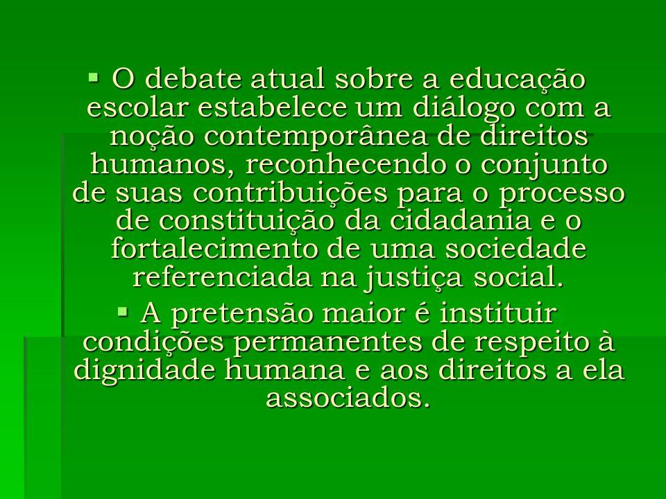 Com isso, a educação passa a ser pensada como direito humano, fundamentando políticas que expressam a luta nunca acabada pela dignidade humana numa sociedade onde todos são detentores de direitos universais, interdependentes, indivisíveis e justiciáveis.