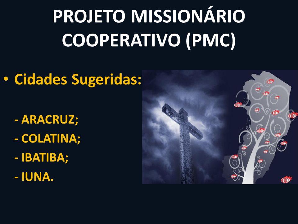 PROJETO MISSIONÁRIO COOPERATIVO (PMC) Cidades Sugeridas: - ARACRUZ; - COLATINA; - IBATIBA; - IUNA.