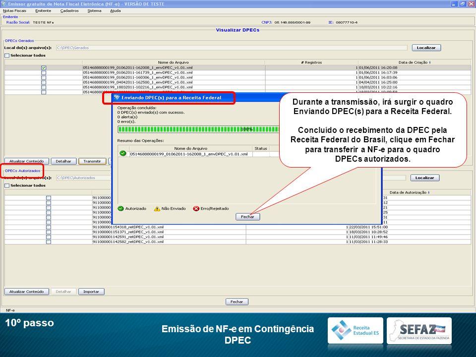 Emissão de NF-e em Contingência DPEC 10º passo Durante a transmissão, irá surgir o quadro Enviando DPEC(s) para a Receita Federal. Concluído o recebim