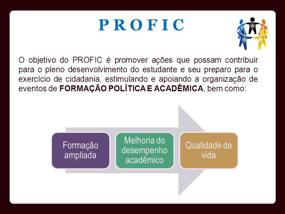 O objetivo do PROFIC é promover ações que possam contribuir para o pleno desenvolvimento do estudante e seu preparo para o exercício de cidadania, est