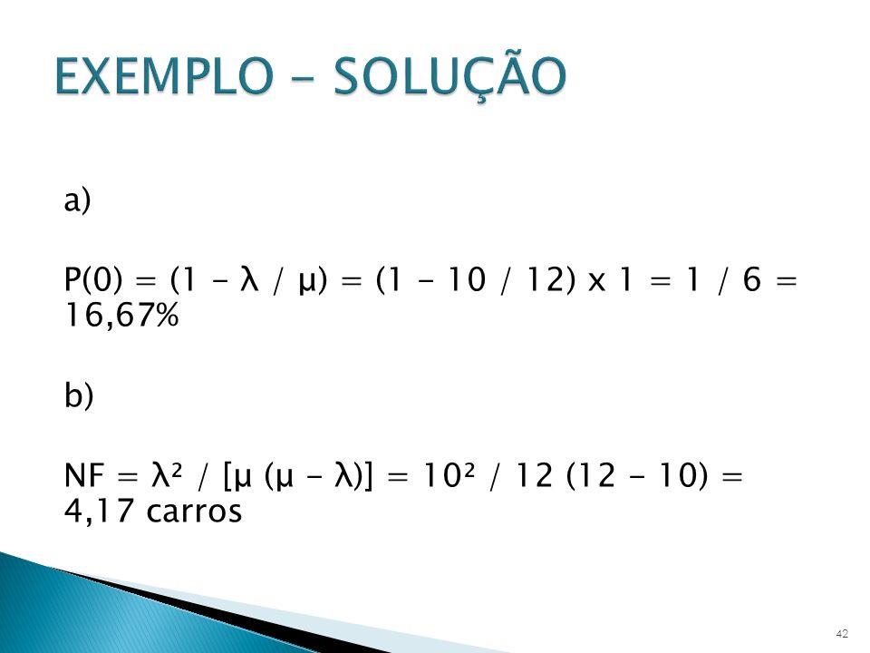 a) P(0) = (1 - λ / μ) = (1 - 10 / 12) x 1 = 1 / 6 = 16,67% b) NF = λ² / [μ (μ - λ)] = 10² / 12 (12 - 10) = 4,17 carros 42