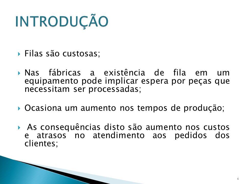Disciplina da Fila - Método de decidir qual o próximo cliente a ser atendido; Ex: FIFO-primeiro a chegar/ primeiro a ser atendido; Número Médio de Clientes na Fila não vazia (NF) Determina o tamanho da fila Número de Médio de Clientes no Sistema (NS) Tempo Médio que o Cliente Fica na Fila (TF) Tempo Médio que o Cliente Fica no Sistema (TS) 17