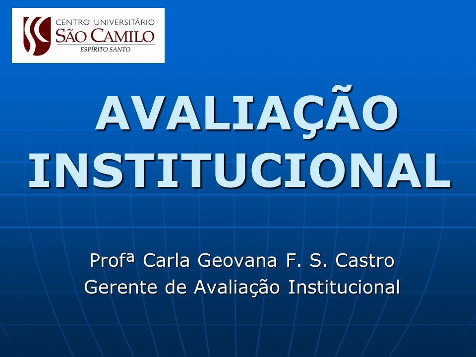 AVALIAÇÃO INSTITUCIONAL AVALIAÇÃO INSTITUCIONAL Profª Carla Geovana F. S. Castro Gerente de Avaliação Institucional