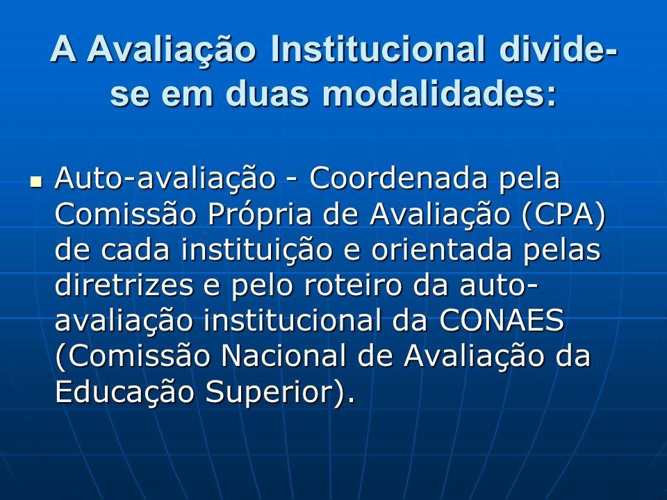 A Avaliação Institucional divide- se em duas modalidades: Auto-avaliação - Coordenada pela Comissão Própria de Avaliação (CPA) de cada instituição e o