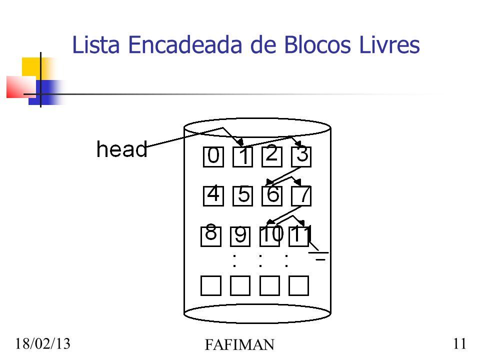 18/02/13 FAFIMAN 11 Lista Encadeada de Blocos Livres