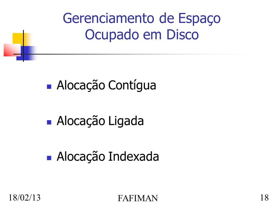 18/02/13 FAFIMAN 18 Gerenciamento de Espaço Ocupado em Disco Alocação Contígua Alocação Ligada Alocação Indexada
