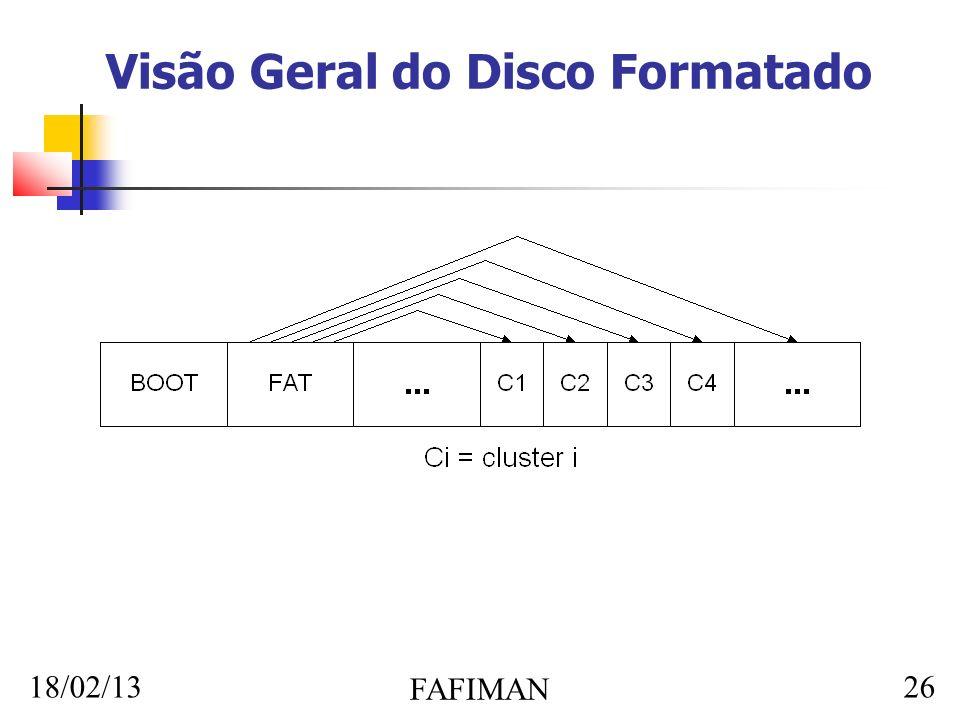 18/02/13 FAFIMAN 26 Visão Geral do Disco Formatado