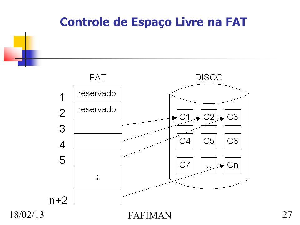 18/02/13 FAFIMAN 27 Controle de Espaço Livre na FAT
