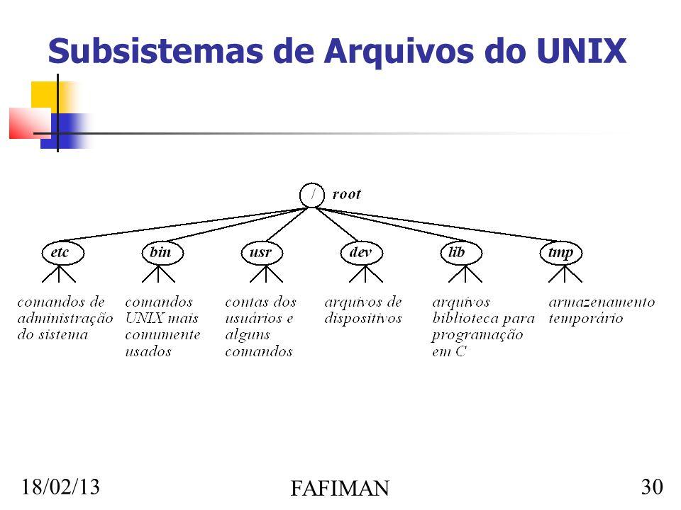18/02/13 FAFIMAN 30 Subsistemas de Arquivos do UNIX