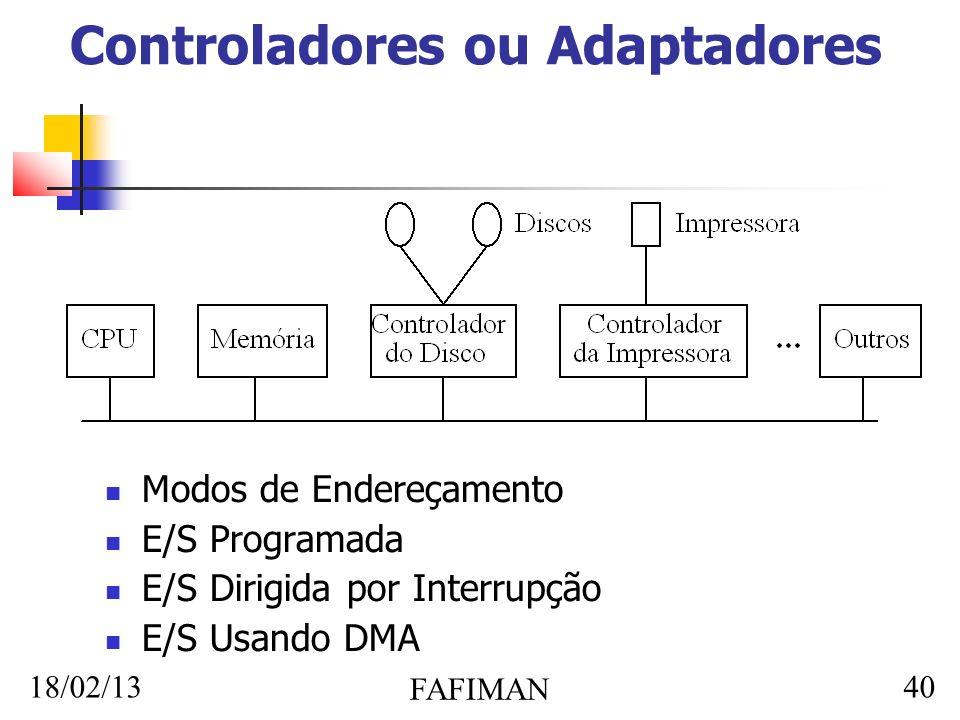 18/02/13 FAFIMAN 40 Controladores ou Adaptadores Modos de Endereçamento E/S Programada E/S Dirigida por Interrupção E/S Usando DMA