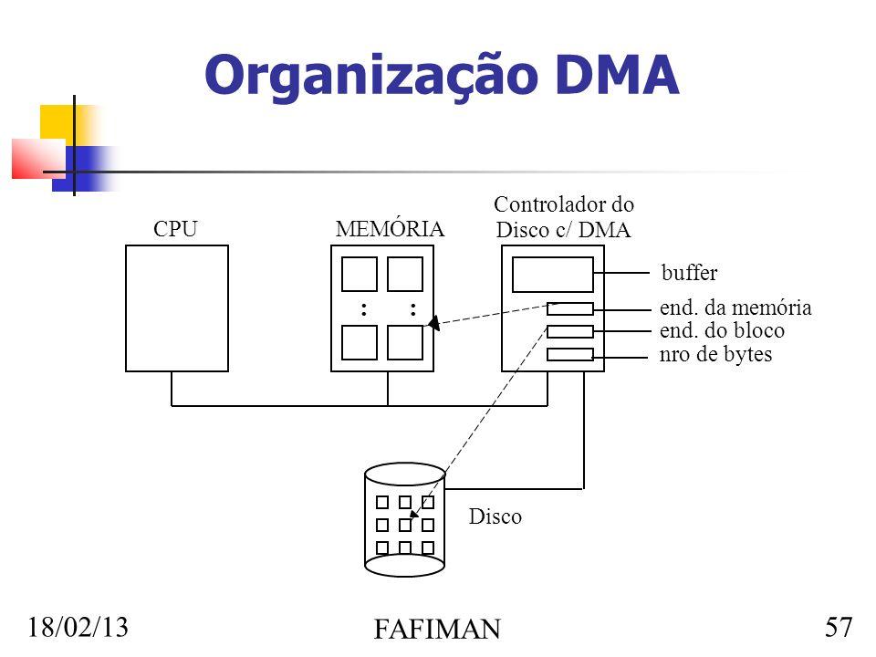 18/02/13 FAFIMAN 57 Organização DMA CPUMEMÓRIA : Controlador do Disco c/ DMA buffer end. da memória end. do bloco nro de bytes Disco