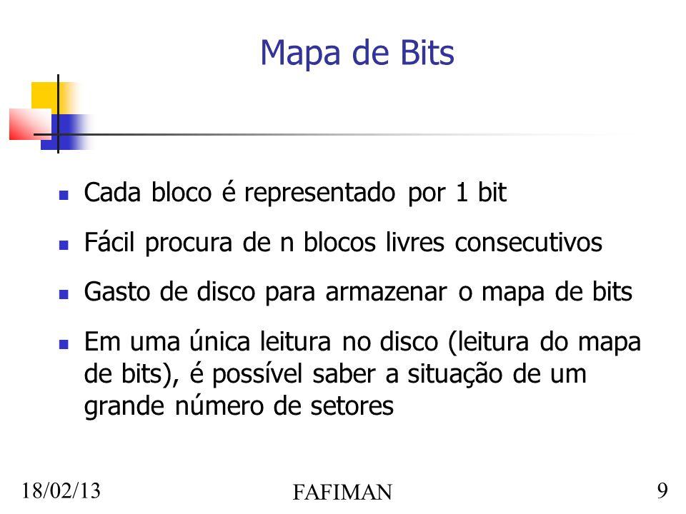 18/02/13 FAFIMAN 9 Mapa de Bits Cada bloco é representado por 1 bit Fácil procura de n blocos livres consecutivos Gasto de disco para armazenar o mapa de bits Em uma única leitura no disco (leitura do mapa de bits), é possível saber a situação de um grande número de setores