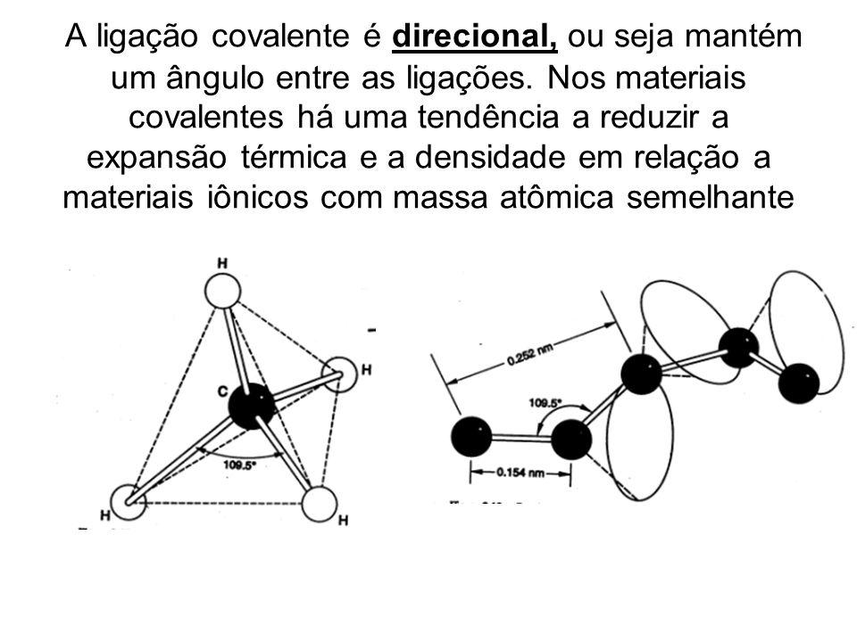 A ligação covalente é direcional, ou seja mantém um ângulo entre as ligações. Nos materiais covalentes há uma tendência a reduzir a expansão térmica e