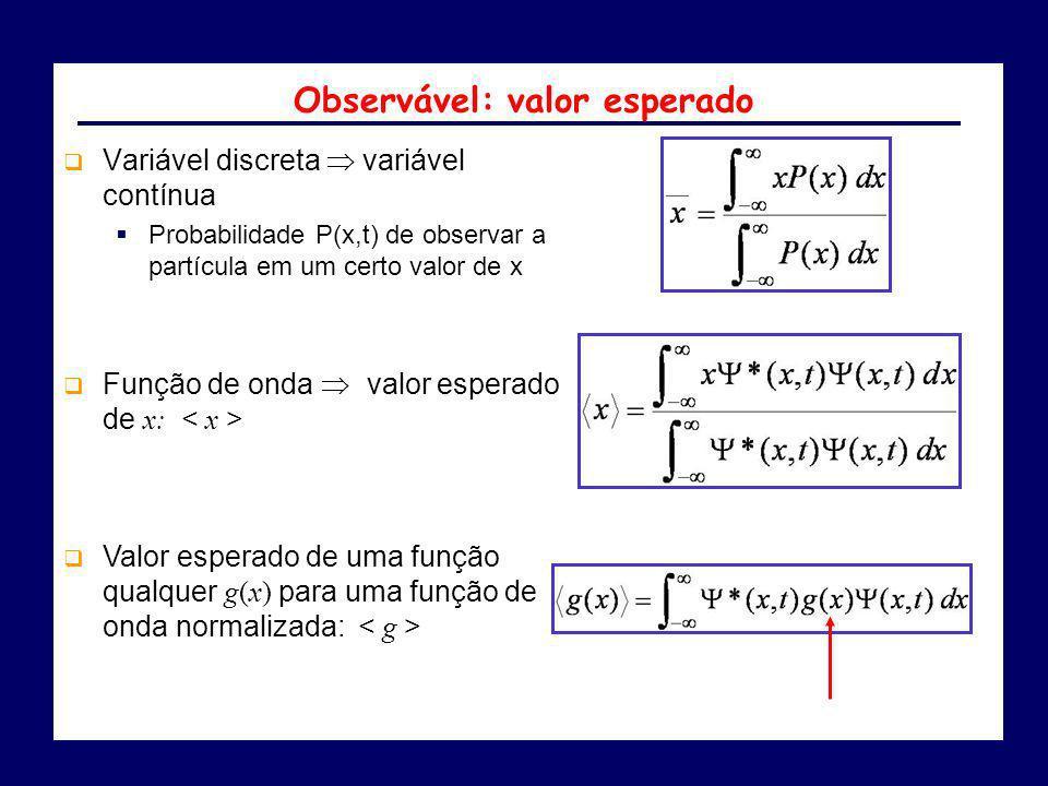 Variável discreta variável contínua Probabilidade P(x,t) de observar a partícula em um certo valor de x Função de onda valor esperado de x: Valor espe