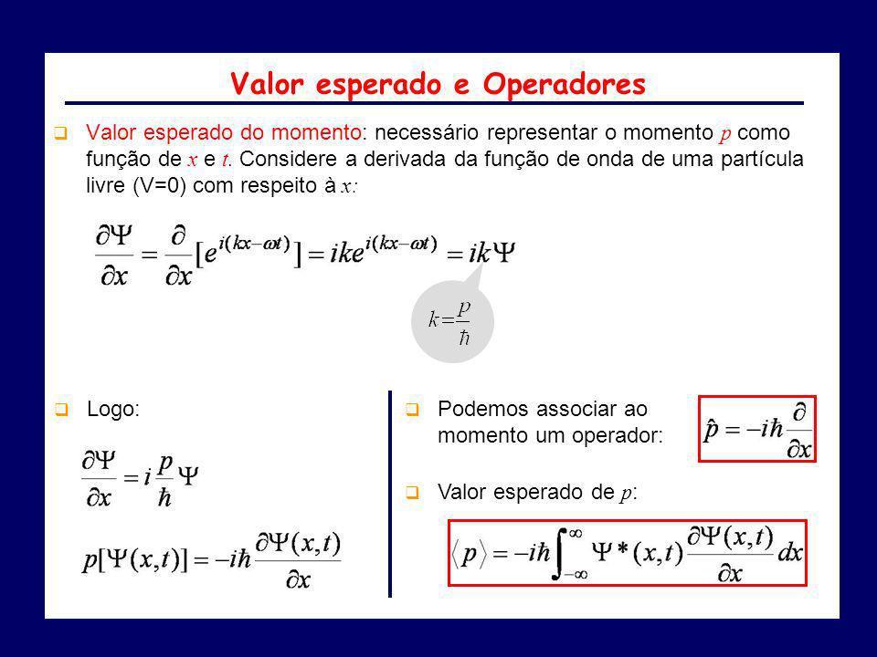 Valor esperado do momento: necessário representar o momento p como função de x e t. Considere a derivada da função de onda de uma partícula livre (V=0
