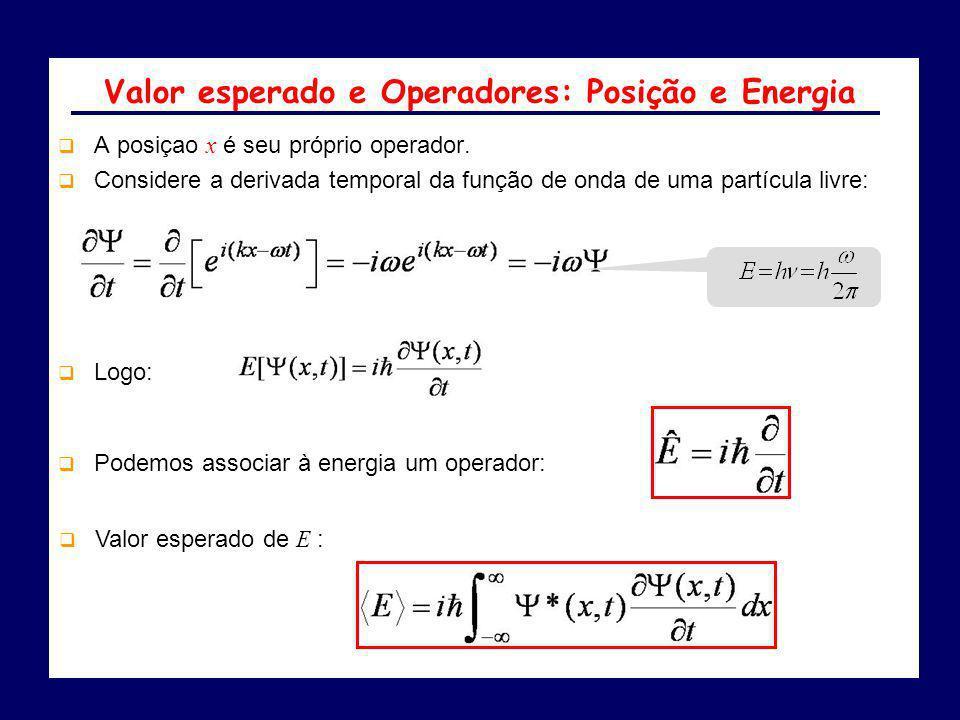 A posiçao x é seu próprio operador. Considere a derivada temporal da função de onda de uma partícula livre: Valor esperado e Operadores: Posição e Ene