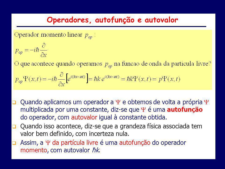 Quando aplicamos um operador a e obtemos de volta a própria multiplicada por uma constante, diz-se que é uma autofunção do operador, com autovalor igu