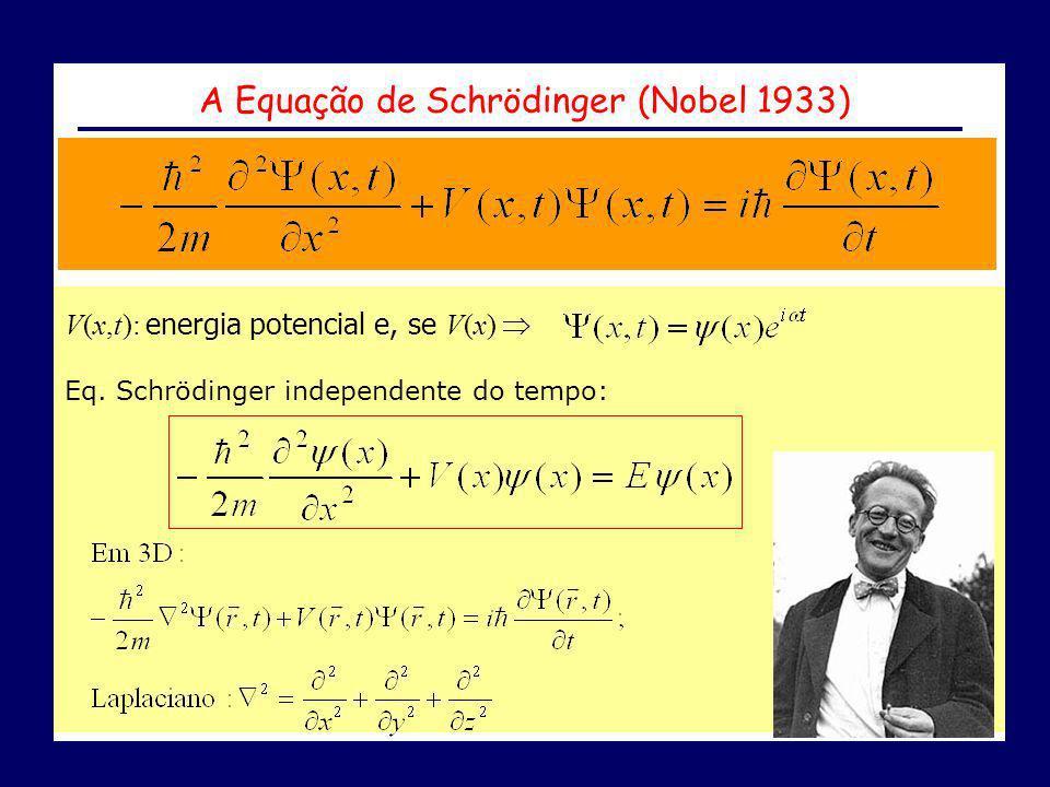 A Equação de Schrödinger (Nobel 1933) V(x,t): energia potencial e, se V(x) Eq. Schrödinger independente do tempo: