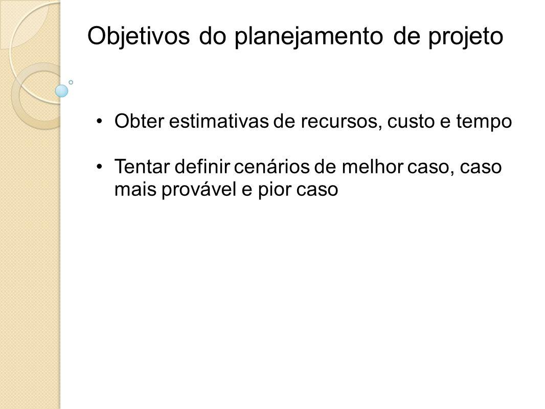 Objetivos do planejamento de projeto Obter estimativas de recursos, custo e tempo Tentar definir cenários de melhor caso, caso mais provável e pior ca