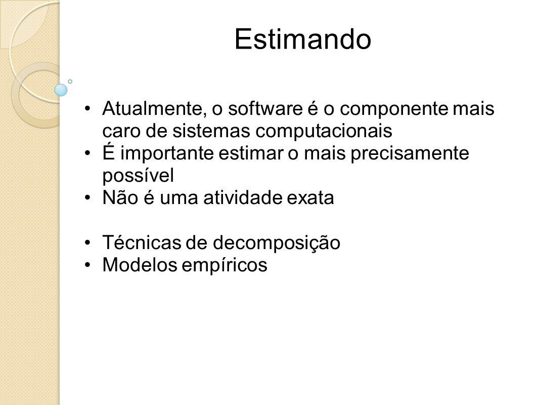 Estimando Atualmente, o software é o componente mais caro de sistemas computacionais É importante estimar o mais precisamente possível Não é uma ativi