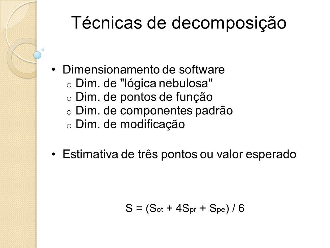 Técnicas de decomposição Dimensionamento de software o Dim. de