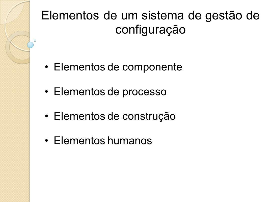 Elementos de um sistema de gestão de configuração Elementos de componente Elementos de processo Elementos de construção Elementos humanos