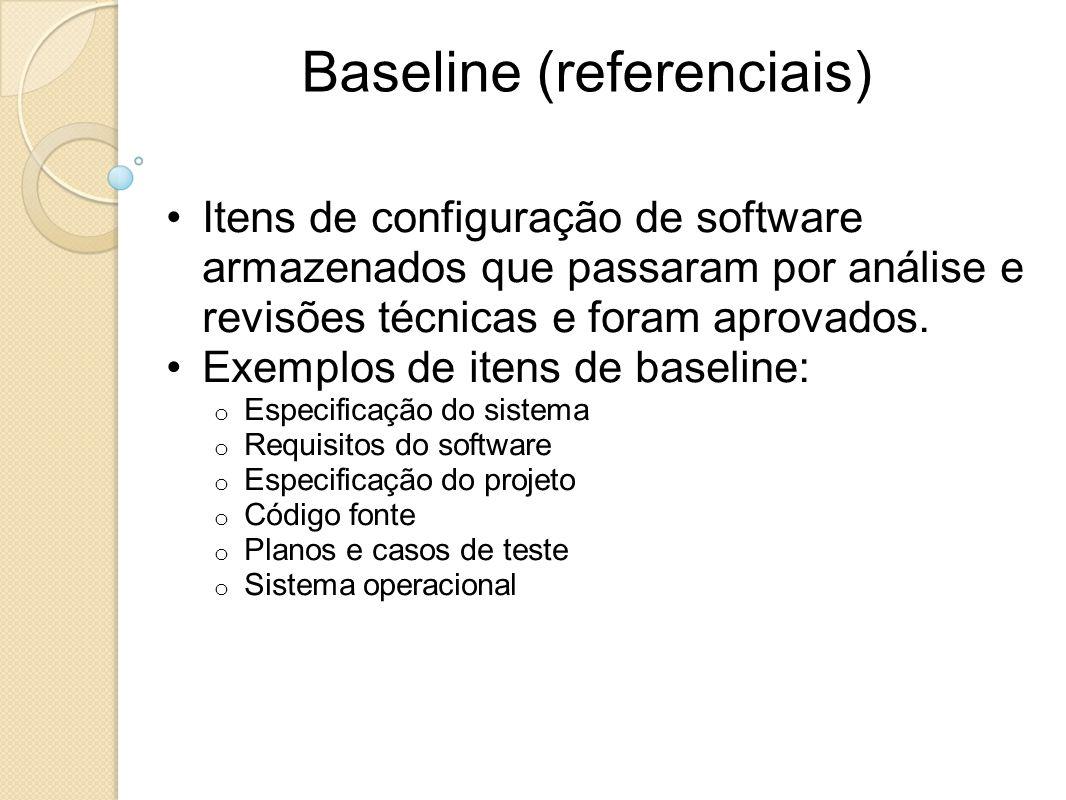 Baseline (referenciais) Itens de configuração de software armazenados que passaram por análise e revisões técnicas e foram aprovados. Exemplos de iten