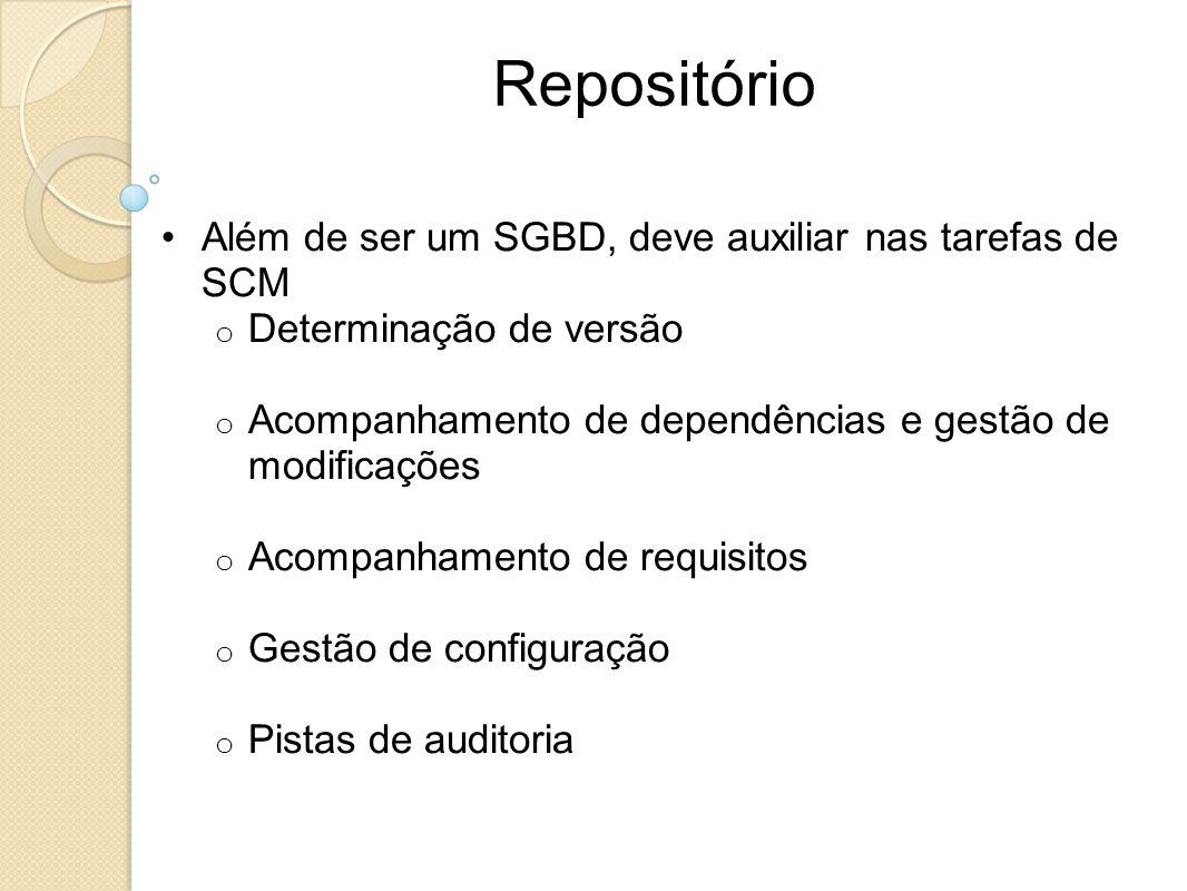 Repositório Além de ser um SGBD, deve auxiliar nas tarefas de SCM o Determinação de versão o Acompanhamento de dependências e gestão de modificações o