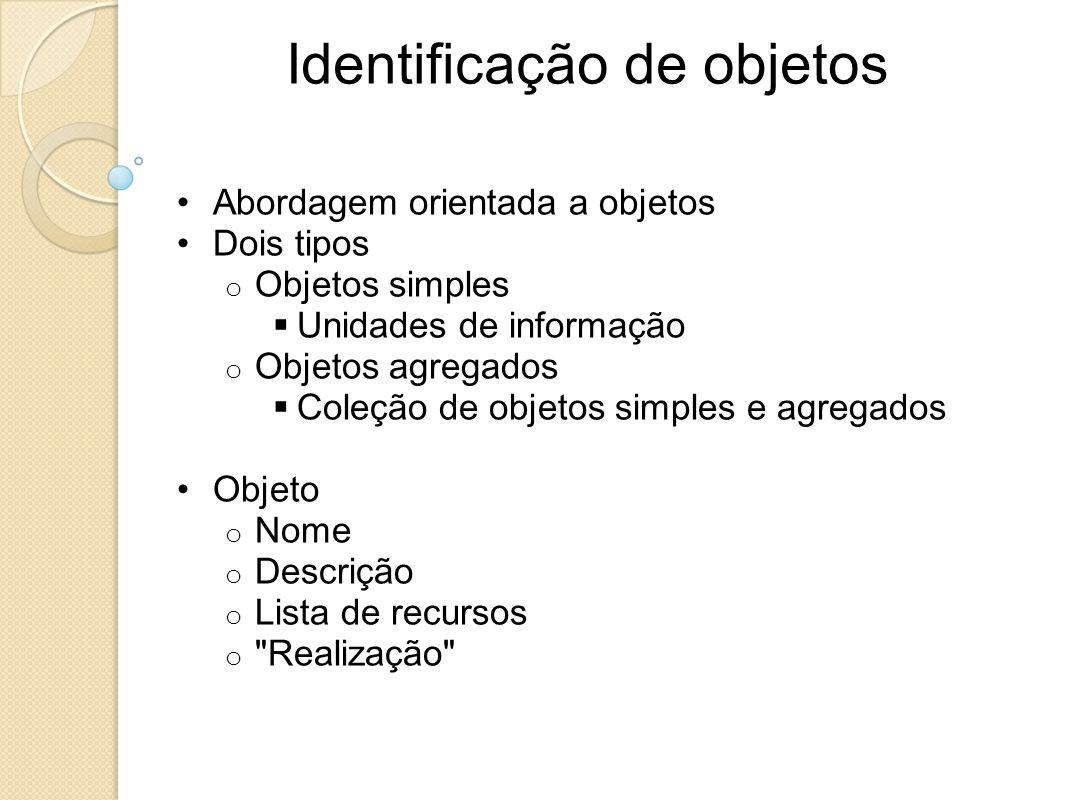 Identificação de objetos Abordagem orientada a objetos Dois tipos o Objetos simples Unidades de informação o Objetos agregados Coleção de objetos simp