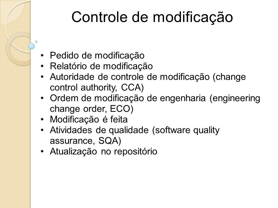 Controle de modificação Pedido de modificação Relatório de modificação Autoridade de controle de modificação (change control authority, CCA) Ordem de