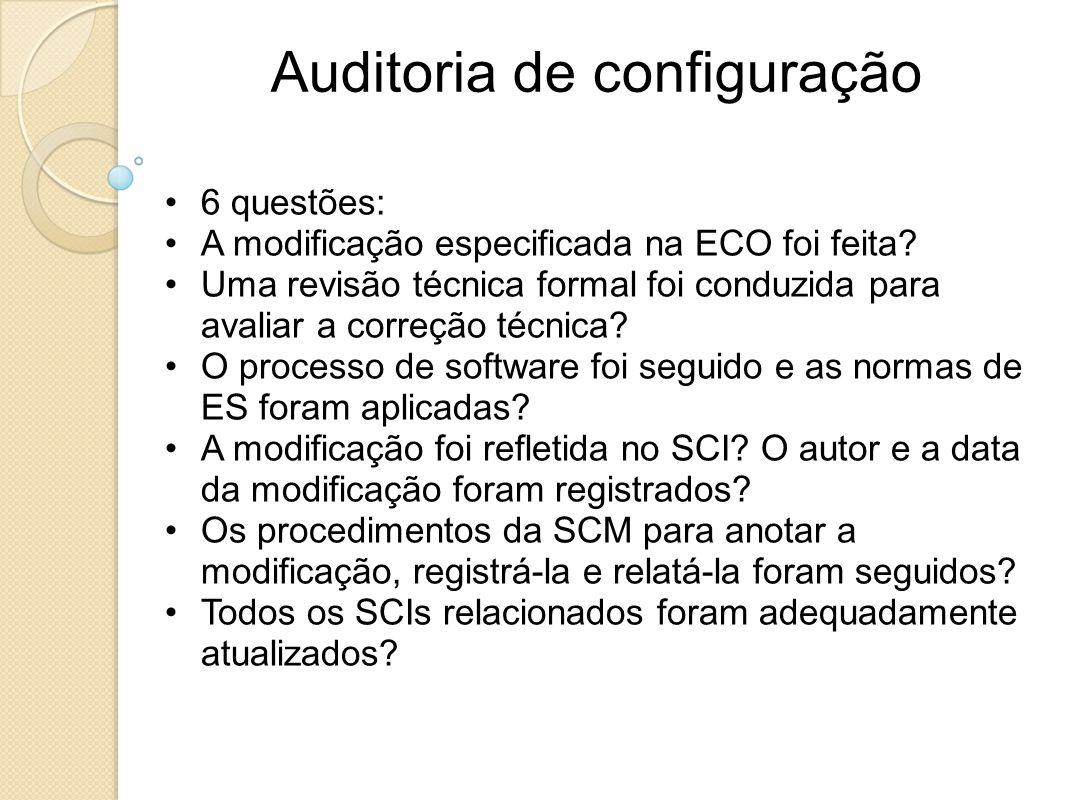 6 questões: A modificação especificada na ECO foi feita? Uma revisão técnica formal foi conduzida para avaliar a correção técnica? O processo de softw