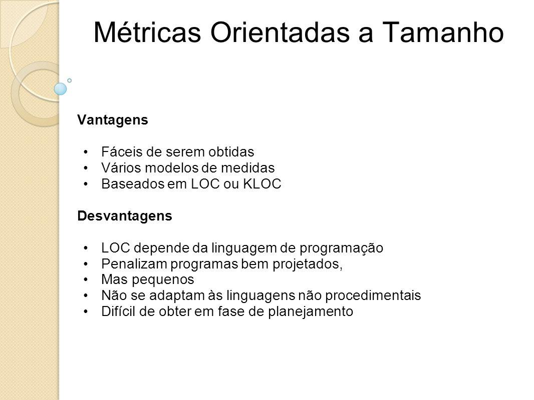Métricas Orientadas a Tamanho Vantagens Fáceis de serem obtidas Vários modelos de medidas Baseados em LOC ou KLOC Desvantagens LOC depende da linguage