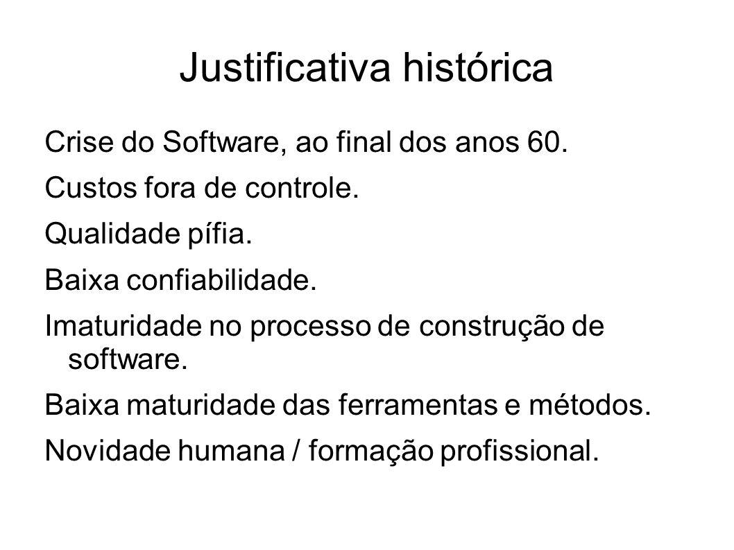 Justificativa histórica Crise do Software, ao final dos anos 60. Custos fora de controle. Qualidade pífia. Baixa confiabilidade. Imaturidade no proces