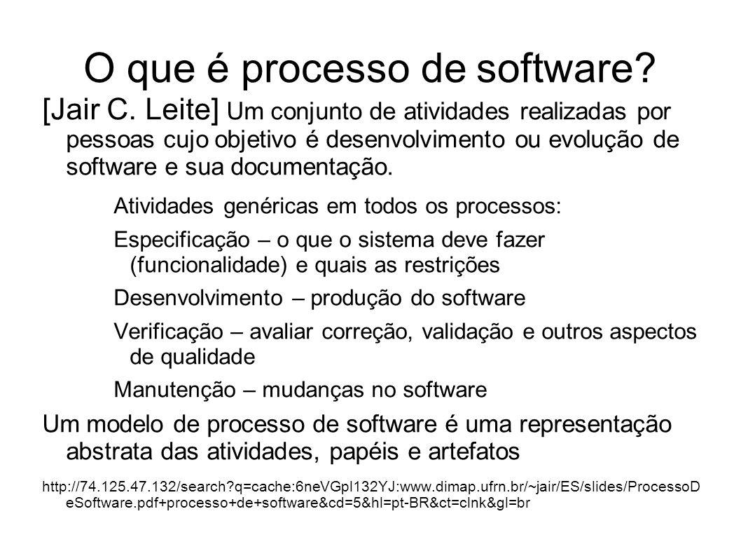O que é processo de software? [Jair C. Leite] Um conjunto de atividades realizadas por pessoas cujo objetivo é desenvolvimento ou evolução de software