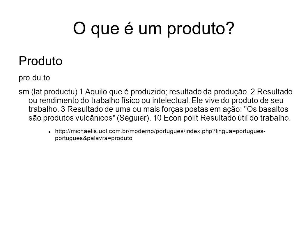 O que é um produto? Produto pro.du.to sm (lat productu) 1 Aquilo que é produzido; resultado da produção. 2 Resultado ou rendimento do trabalho físico